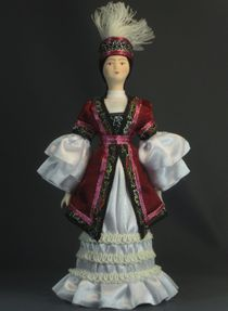 Doll gift porcelain. Women's traditional Kyrgyz costume. Late 19th - early 20th century. Naryn district.