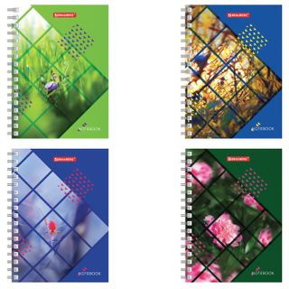 Notebook SMALL FORMAT (160х114 mm) A6, BRAUBERG, 80 sheets, comb, cell, Plants