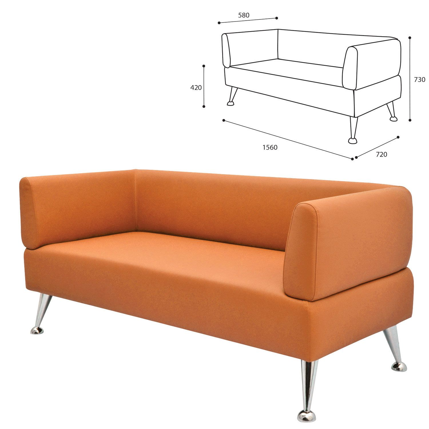 """GARTLEX / Soft three-seater sofa """"Nord"""", """"V-700"""", 1560x720x730 mm, with armrests, eco-leather, orange"""