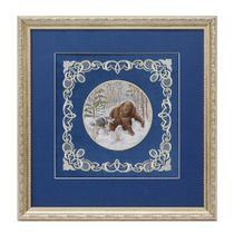 Panel 'the bear and the dog' blue with gold embroidery