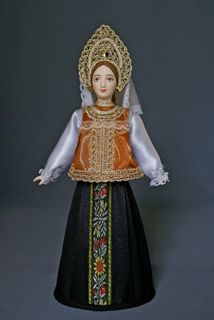 Doll gift porcelain. The North Of Russia. The girl in the Golden desagree. Festive costume. 18-19 centuries.