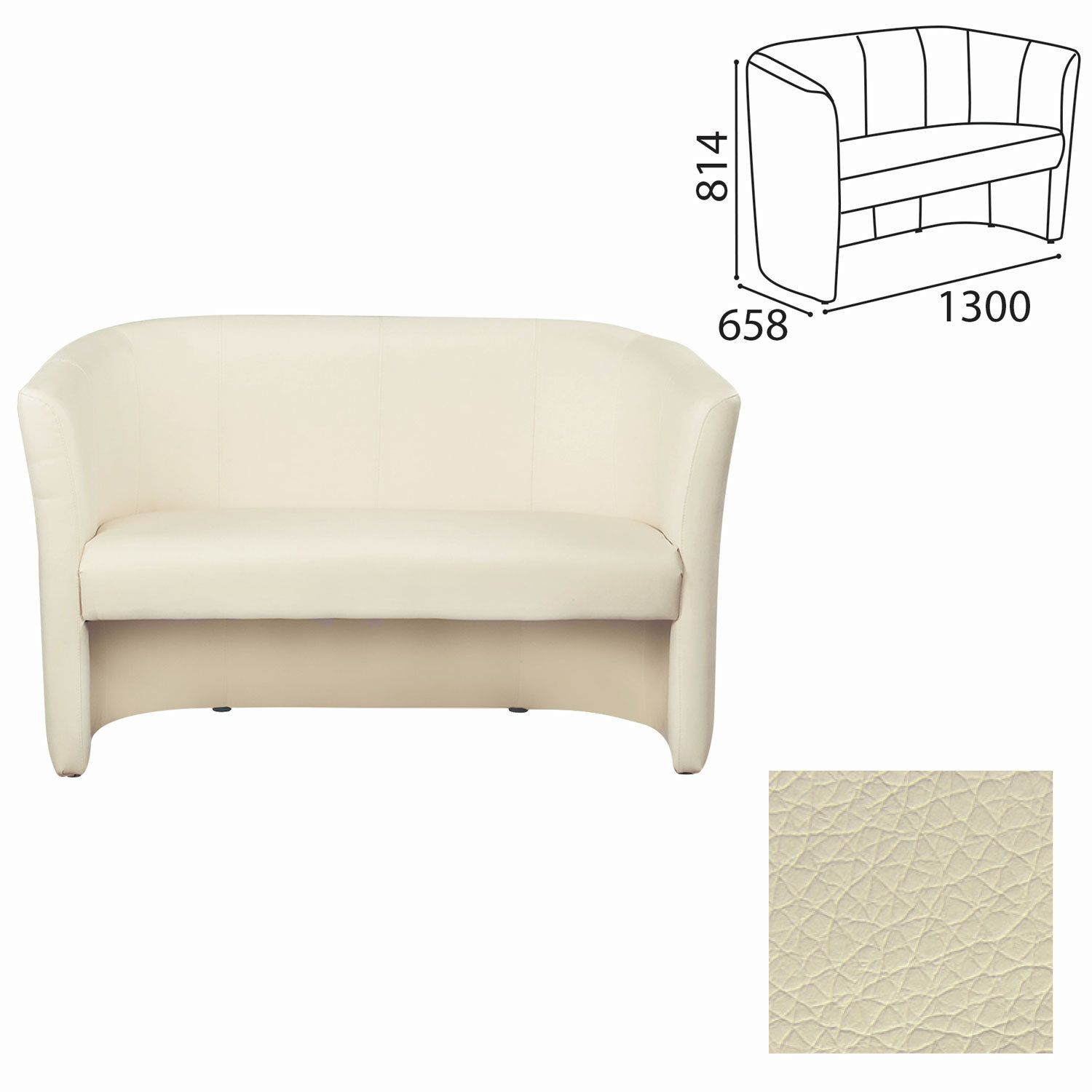 """NOWY STYL / Double sofa """"Club Duo"""", 814х1300х658 mm, with armrests, leatherette, beige"""