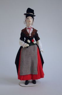 Doll gift. Women's costume of the 19th century. Wales. England.