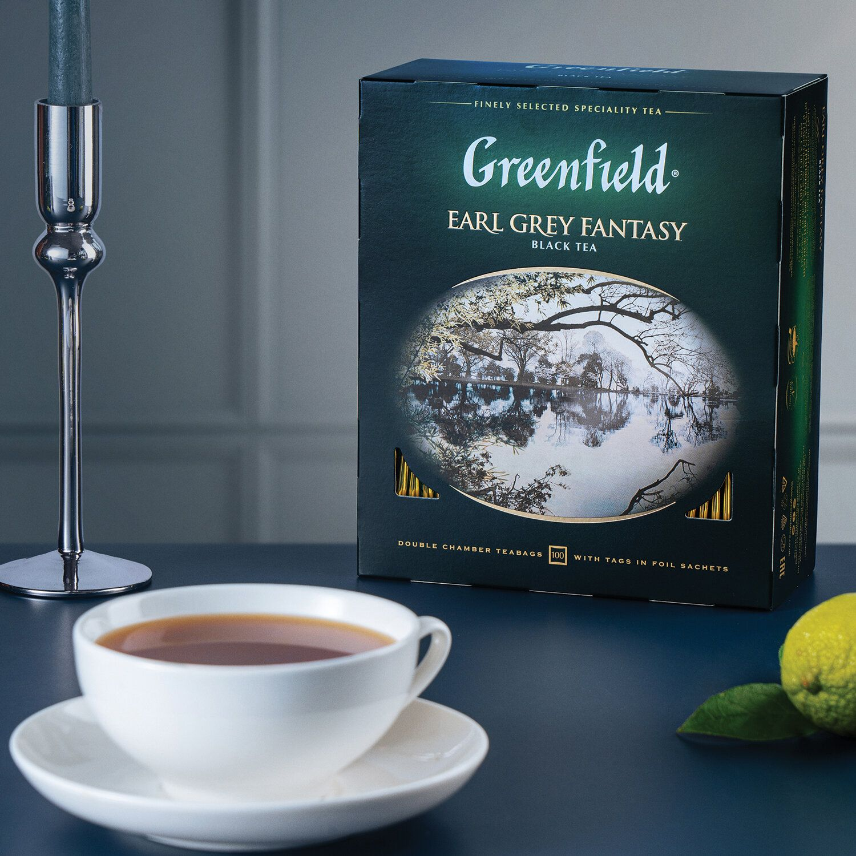 "GREENFIELD / Tea ""Earl Gray Fantasy"" black with bergamot, 100 sachets in envelopes of 2 g"