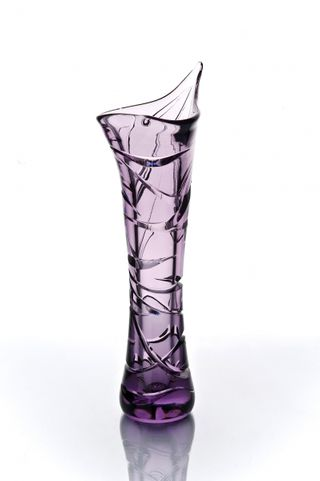 "Crystal vase for flowers ""Sparrow"" large purple"