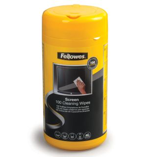 FELLOWES / Wet cleaning wipes for monitor screens and optical surfaces, in a tube 100 pcs.