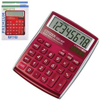 Desktop calculator CITIZEN CDC-80RDWB, SMALL (135x109 mm), 8 digits, dual power supply, BURGUNDI