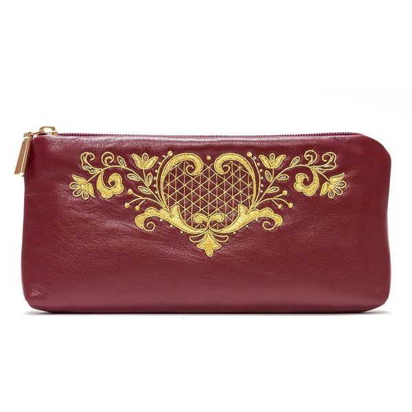 Leather eyeglass case 'the Birth of spring' Burgundy with gold embroidery