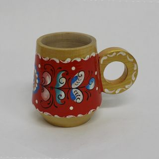 """Wooden mug """"Shenkurskiy red painting"""" the height 7 cm"""