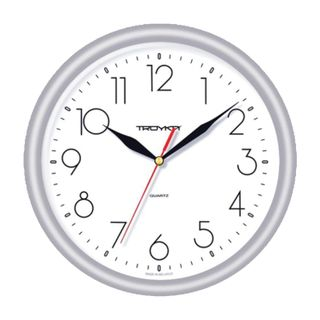 Wall clock TROYKA 21270212, circle, white, silver frame, 24,5х24,5x3,1 cm