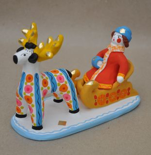 Dymkovo clay toy Sleigh with reindeer