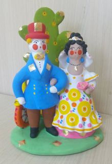 Dymkovo clay toy Wedding couple with a cactus