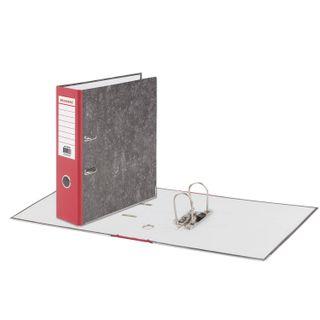 Folder-Registrar BRAUBERG, reinforced spine, marble cover, 80 mm, with corner, red