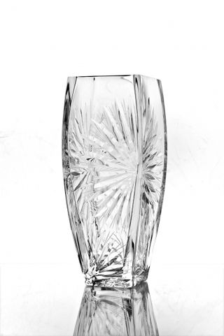 "Crystal vase for flowers ""Marta"" with engraving colorless"