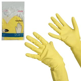 """VILEDA / Household rubber gloves """"Contract"""" with cotton dusting, size M (medium), yellow"""