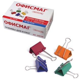 Clips for papers FISMA, SET of 12 pieces, 51 mm, 230 sheets, colored cardboard box