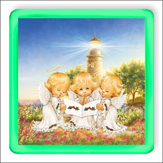 Angels in the meadow. Magnetic glowing souvenir.