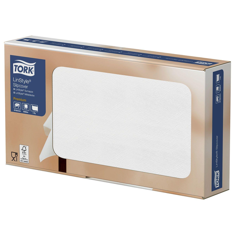 """TORK / Disposable nonwoven paper tablecloths """"LinStyle Premium"""" white 80x80 cm, 20 pcs."""