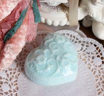 Blue Knitted heart - shaped handmade soap