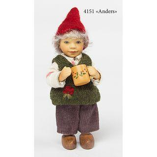 Birgitte Frigast / Porcelain doll Anders, 10 cm