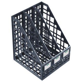 Tray vertical paper of STAMM (245х240х300 mm), 3 pockets, mesh, collapsible, black