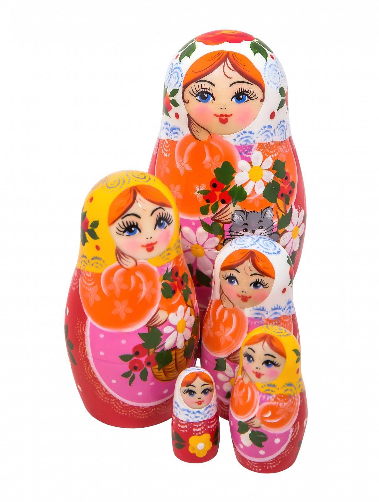 Khokhloma painting / Author's Matryoshka 5 dolls