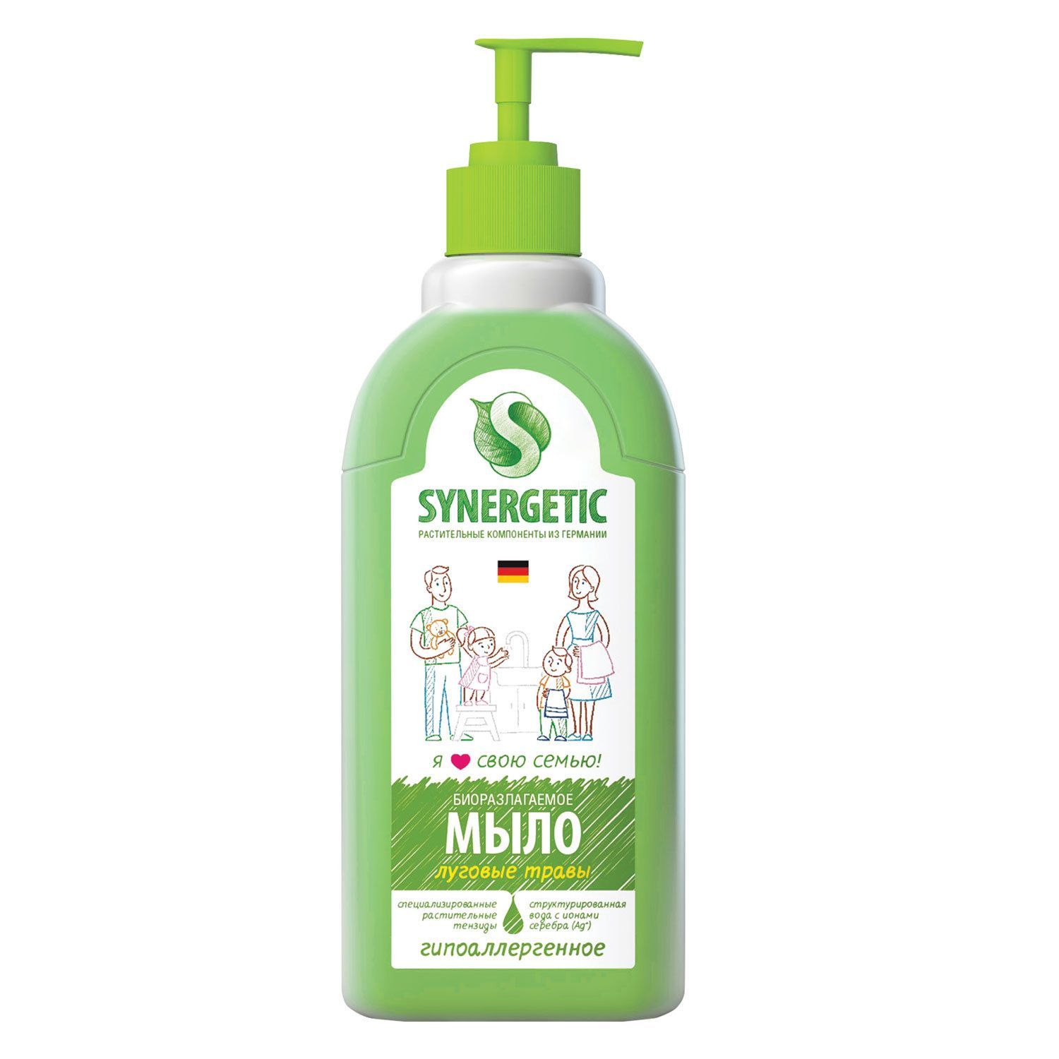 "Liquid soap 500 ml SYNERGETIC ""Meadow grass"", hypoallergenic, biodegradable, dispenser"