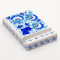 Craft / Phone stand with Khokhloma painting, wooden