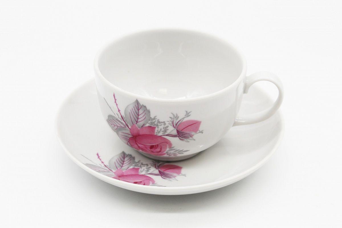 Dulevo porcelain / Tea cup and saucer set, 12 pcs., 210 ml. Amber Wild rose economy