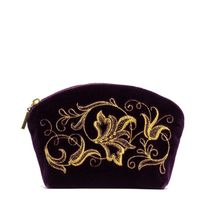 Velvet cosmetic bag 'Romance' purple