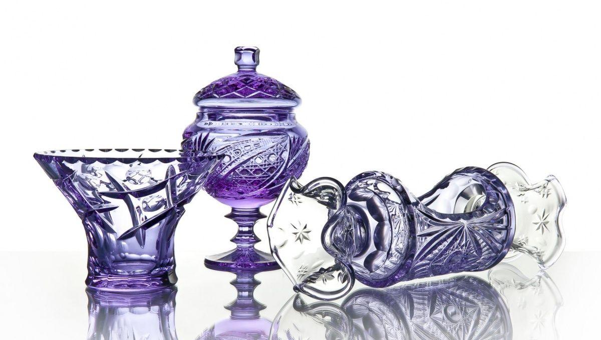 "Crystal vase for sweets with lid ""Lyubava"" neodymium"