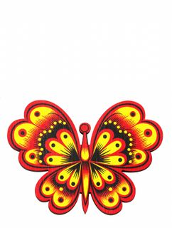 """Khokhloma painting / Wooden magnet """"Butterfly"""""""