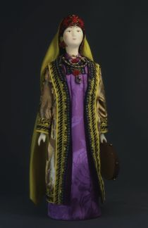 Doll gift porcelain. Uzbekistan. Traditional costume of the Bukharan Jews. The end of the 19th century.