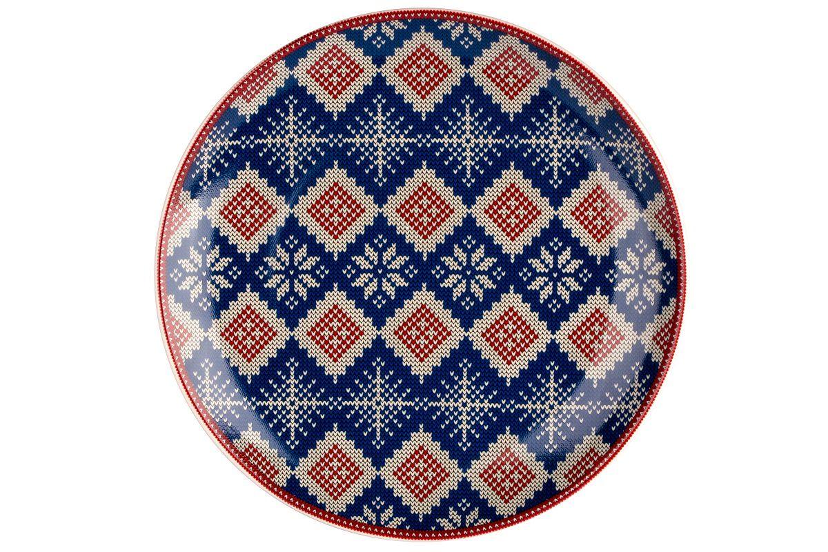Dulevo porcelain / Plate 210 mm New Year (blue) (Ceramics)