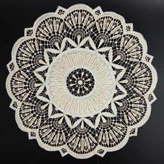 Cloth with silk thread embroidery hand-work, Fig.1, d=25 cm