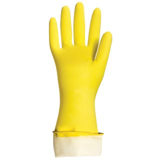 "LIME / Latex household gloves ""Premium"" REUSABLE, cotton spraying, super thick, M (medium)"