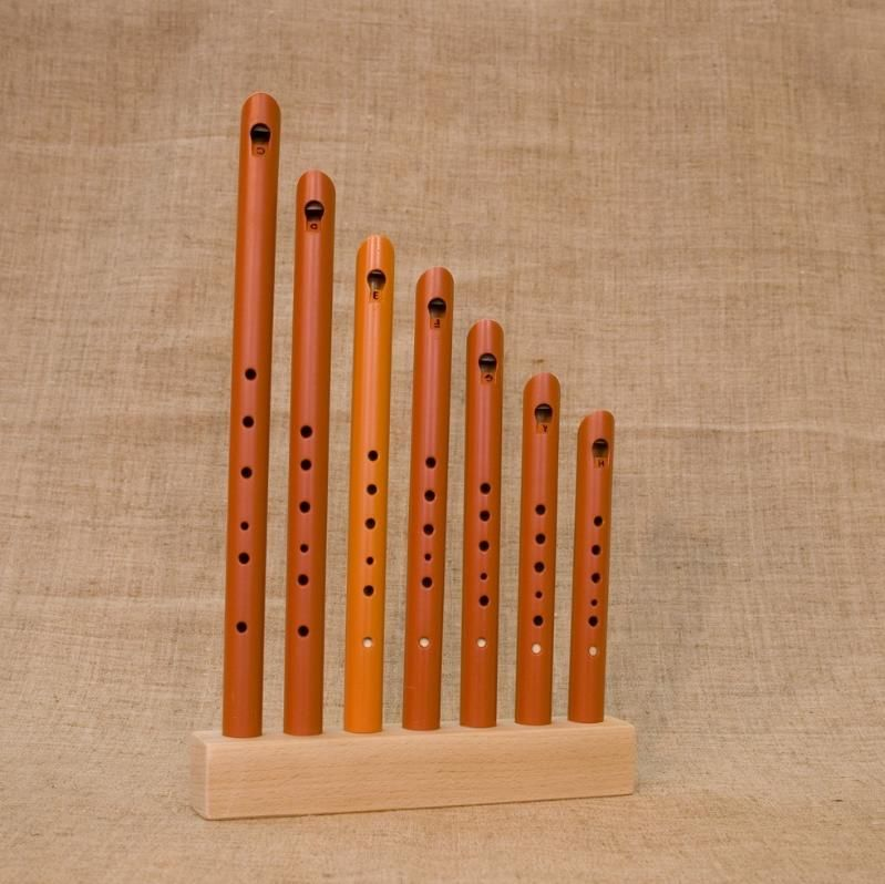 Workshop Serebrov / Set of pipes (7 tones: C, D, E, F, G, A, H) with stand