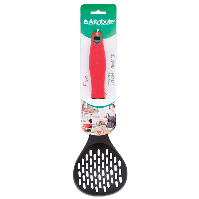 "ATTRIBUTE / Kitchen skimmer, food grade heat-resistant plastic, colored handle, euro hanger, ""Fun"""