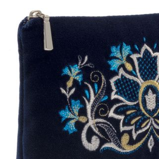 "Velvet cosmetic bag ""flavor of the cornflowers"" dark blue with silver embroidery"