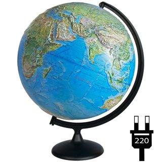 Geographical relief globe with a diameter of 420 mm with backlight