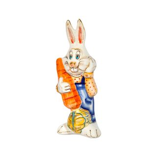 Sculpture Bunny with carrot colored paint with underglaze, cobalt, Gzhel Porcelain factory