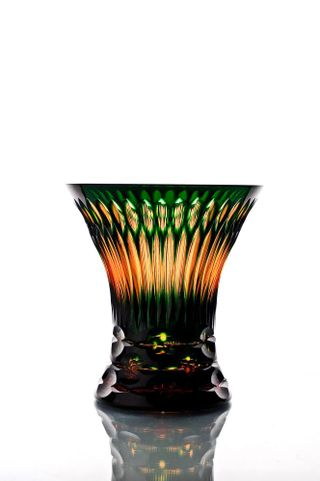 """Crystal vase for flowers """"Imperial"""" amber-green"""