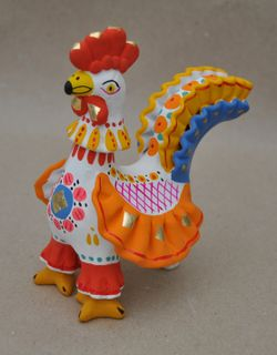Cockerel with a carved collar, Dymkovo clay toy