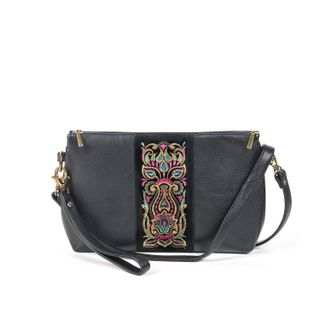 "Leather bag ""Rainbow mood"" of black color with Golden embroidery"