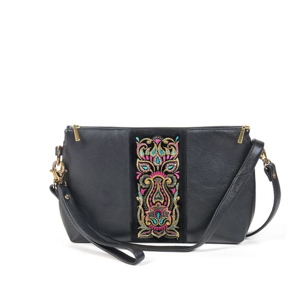 Leather bag 'Rainbow mood' of black color with Golden embroidery