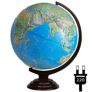 Physical relief globe with a diameter of 420 mm on a wooden stand with backlight