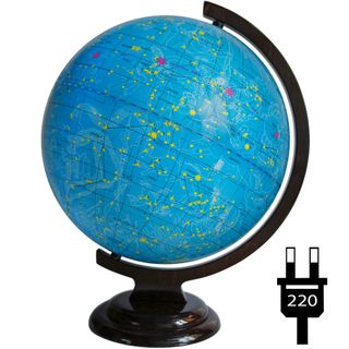 The celestial globe with a diameter of 320 mm on a wooden stand with backlight