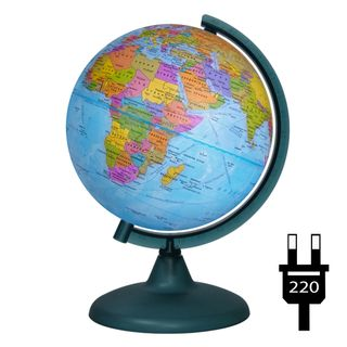 Political globe with a diameter of 210 mm on a plastic arc and base with backlight