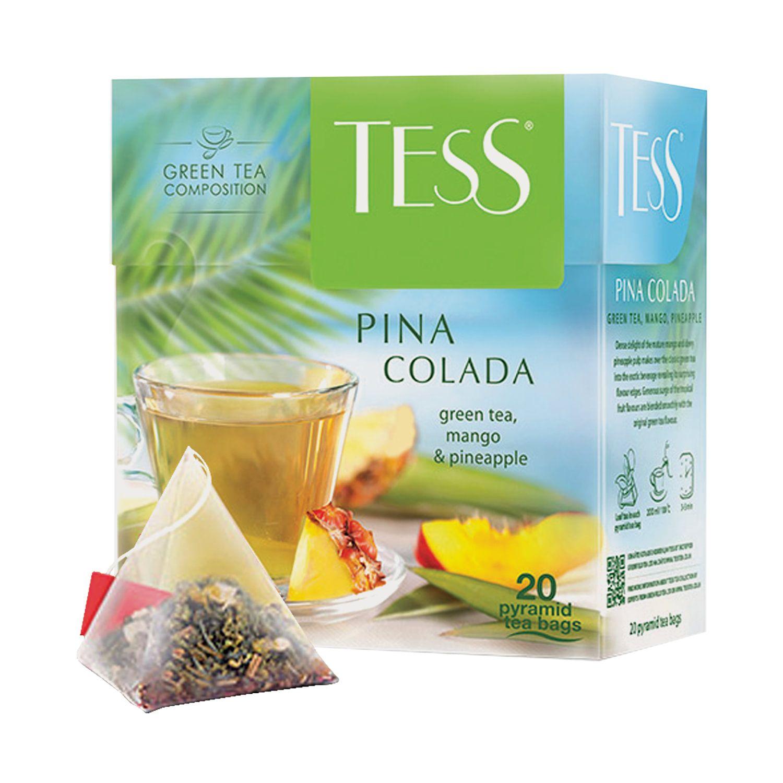 "TESS / Green tea ""Pina Colada"" with aroma of tropical fruits, 20 pyramids, 1.8 g each"