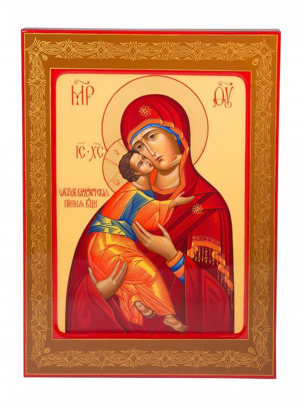 """Khokhloma painting / Icon """"Our Lady of Vladimir"""" 245х335 mm"""